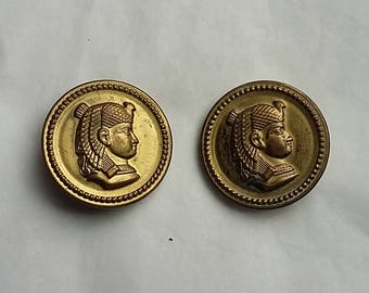 2 Large Antique Metal Picture Buttons, Cleopatra Egyptian Revival Queen
