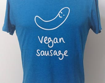 Vegan Sausage Tee ~ 100% Recycled Materials ~ Vegan ~ Ethical ~ Eco-friendly ~ Gender Neutral ~ Hand Drawn