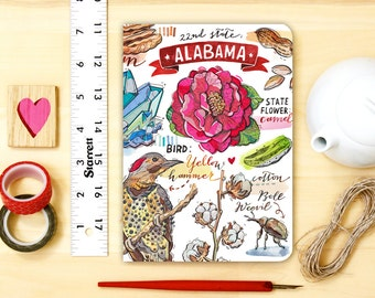 Alabama notebook, journal, state, pride, blank, the South, state symbols, illustration.