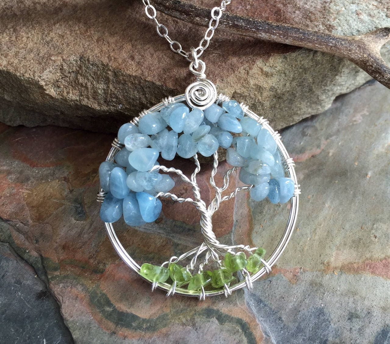 Tree of Life Aquamarine/Peridot Necklace,Wire Wrapped Aquamarine ...