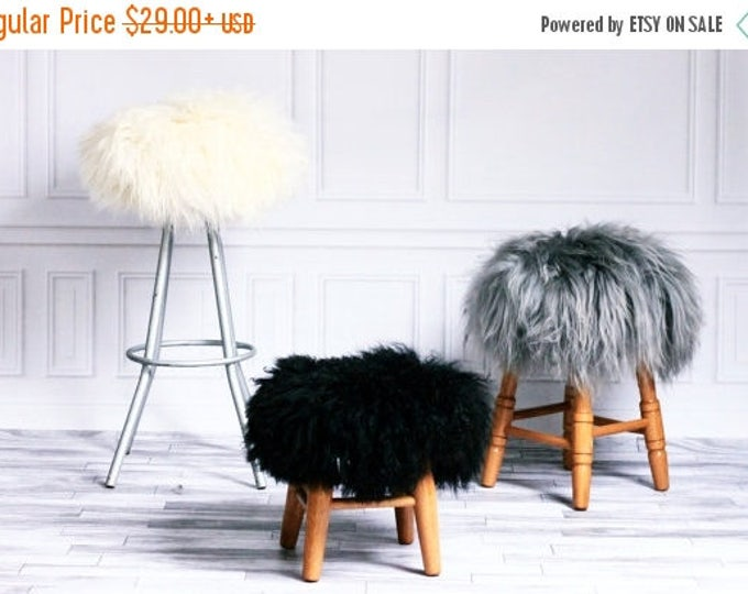 Stool Cover | Sheepskin Stool Cover | Round Stool Cover | Furry Stool | Scandinavian Decor | Ottoman Cover