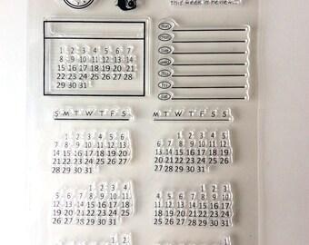 Opsommingsteken Journal siliconen stempel / Bujo kalender datum duidelijk stempel / per maandelijkse Planner stempels