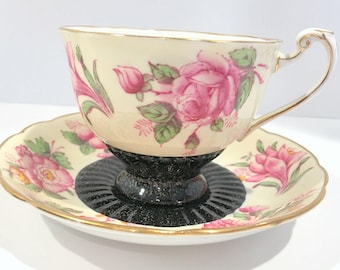 Pink Florette Roslyn Tea Cup and Saucer, Pink Flower Cups, Teacup and Saucer, Tea Cups and Saucers, Floral Cups, English Bone China Cups