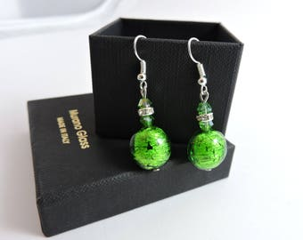 Rhinestone and Murano glass earrings, Murano glass earrings with crystal elements and silver leaf