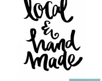 Local & Handmade - Hand-lettered Printable sign - Digital download - Craft show decor