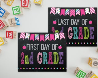 2nd Grade Sign - First Day of School Printable - Last Day of School - First Day Sign - School Photo Prop - School Sign - 1st Day of School