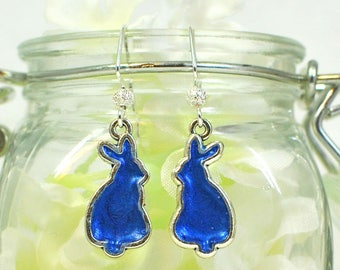 RESERVED Blue Bunny Earrings Blueberry - Cute Bunny - Pet Bunny Rabbit - Bunny Jewelry - Nature Lover Gift - Rabbit Earrings - Woodland