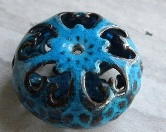 Enamel Bead, Torch-Fired, Aqua Cathedral