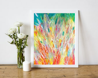 Abstract Expressionist Art Print - Abstract Printable - Instant Download - Modern Art Print - Modern Home Decor - Rainbow Art - 8x10 11x14