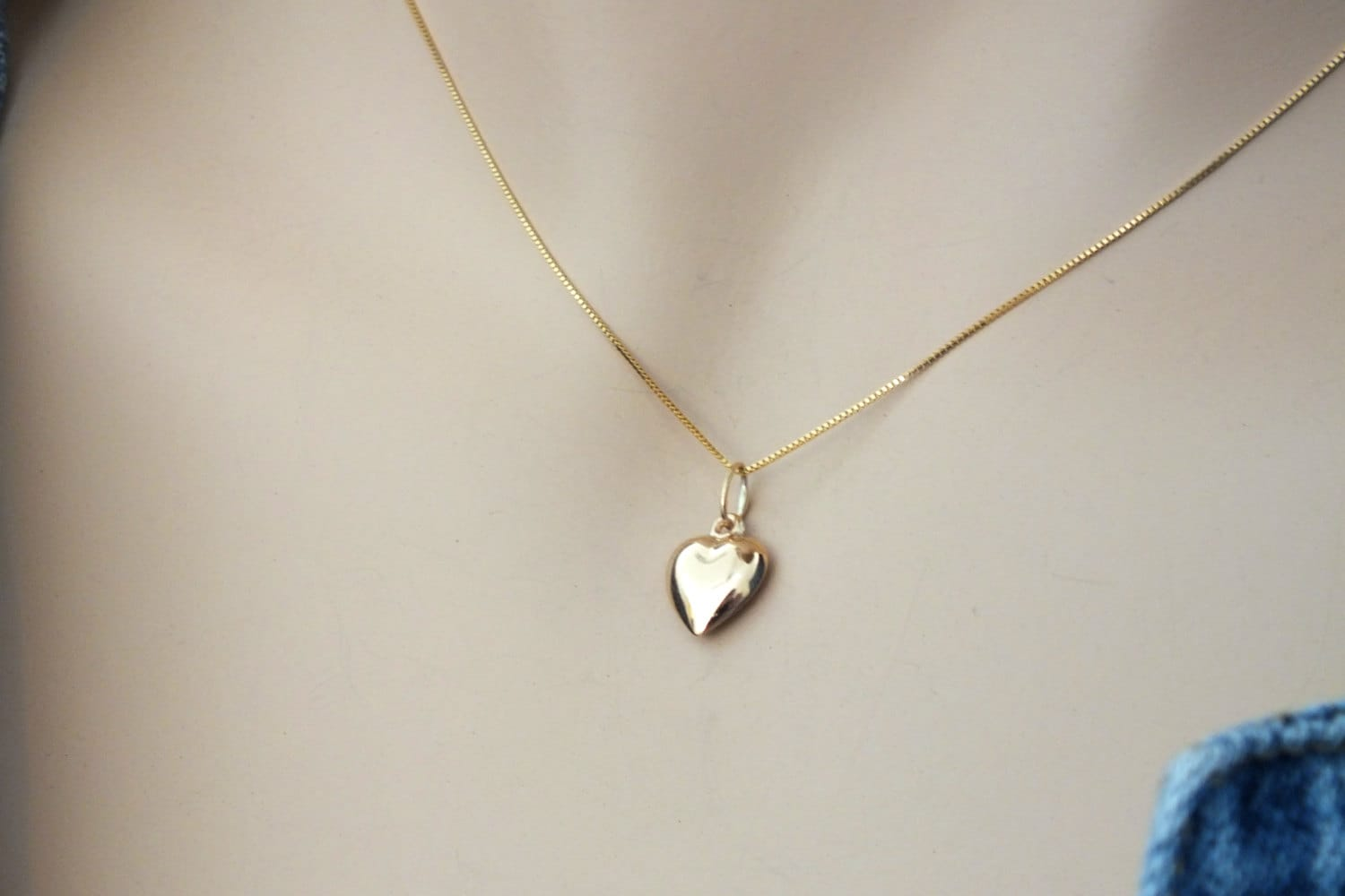 Gold heart necklace delicate small solid 14k gold heart zoom aloadofball