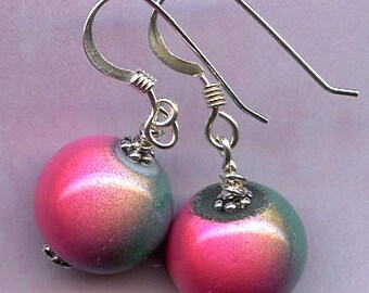 Pink and Teal Miracle Bead Sterling Silver Earrings