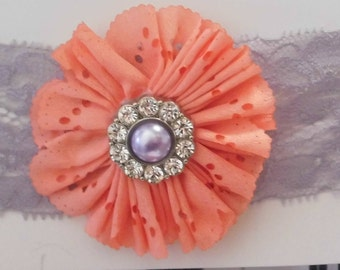 Coral and Dusty Purple Headband