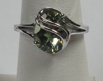 Natural Green Amethyst Solitaire Ring 925 Sterling Silver