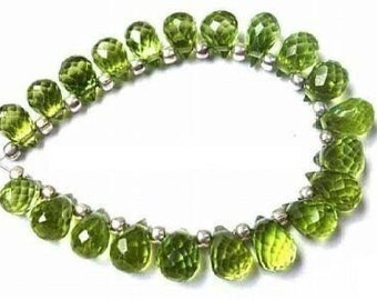 Finest Quality Peridot Micro Faceted tear drop briolettes  (Set of 20 Pcs Weight 25 CTS) Size 5.5x4 - 7x5mm approx
