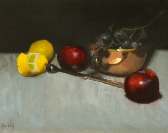 Still life oil painting with frame - lemons, grapes, and copper bowl