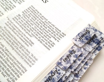 "STANDARD Navy Blue ""Chintz"" Shabby Chic Books of Bible Tabs by Victoria Anderson"