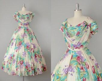 50s Dress // 1950's Emma Domb Floral Chfifon Gown // XL