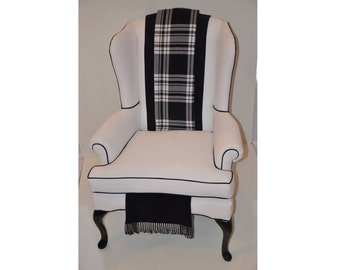 """Sold- CAN Replicate-Vintage White Wingback Chair with a Modern Look """"Perouges"""""""