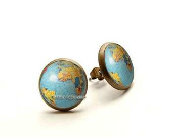 Vintage Globe Earrings, World Map Earrings Post, Earth Stud Earrings, Simple Earrings, Globe Earth Earrings, Gift For Her, World Map Jewelry