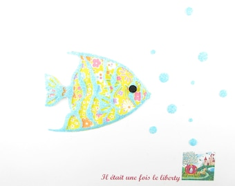 Applied fusing fish tropical liberty fabric Kayoko flex yellow glittery patch iron on patch applique fish design fish