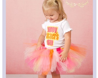 Toddler Father's Day Shirt And Tutu Happy Fathers Day Shirt Tutu Set Pink And Orange Tutu 2T 3T 4T