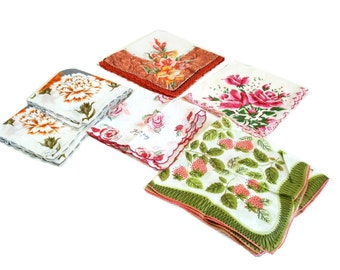 Vintage Hankies Cotton Floral Handkerchiefs