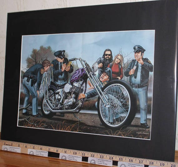 "David Mann ""Hot Pipe"" 16'' x 20'' Matted Motorcycle Biker Art Poster #8602ezrxmb"