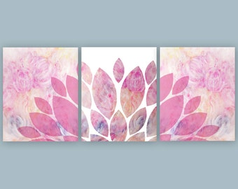 Pink Nursery Decor, Pink Prints, Chrysanthemum Printable Art, Girls Bedroom Wall Art, Set of 3 Prints, 8x10, 16x20 Instant Download