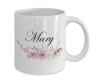 Coffee Mugs Personalized Name - Personalized Name Mug v8 - Custom Name Mug Floral Name Gift For Her First Name Personalized Gifts