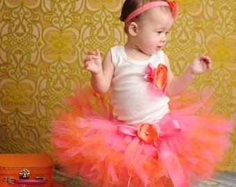 Baby Girls Birthday Tutu Dress Outfit | Strawberrie Tangerine Tresor Birthday Tutu
