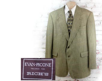 men's wool Sport coat, men's brown blazer, Herringbone tweed sport coat , men's blazer, 46 Long - # 86