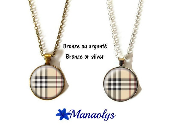 Necklace burberry pattern tiles, tiles, glass, silver or bronze supports cabochons Stud