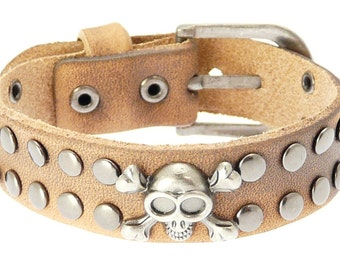 Skull & Crossbones Leather Cuff Wrap Around Gothic Wristband Bracelet With Buckle Fastening - 231