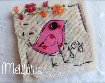 """Pink square brooch """"Birdie"""""""