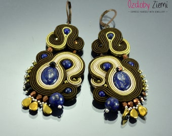Brown Soutache Earrings, handmade earrings, anniversary gift, gift for wife, unique gift, lapis lazuli earrings, gemstone earrings, soutache