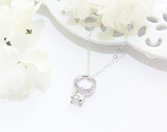 Engagement Ring Necklace, Valentines Gift, Tiny Engagement Ring, Ring Charm, Engagement Gift, Wedding Gift, Gift for Bride, Engagement Ring