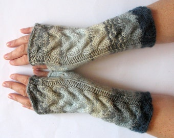 Fingerless Gloves Gray Blue Green wrist warmers
