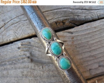 ON SALE Three stone turquoise ring handmade and signed in sterling silver by an American Indian silversmith with Candelaria turquoise