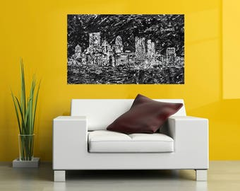 Pittsburgh art, Pittsburgh skyline, abstract art, black and white art, Pittsburgh artist, by Johno Prascak, Johnos Art Studio