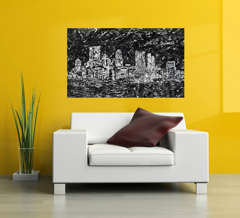 Pittsburgh art Pittsburgh skyline abstract art black and