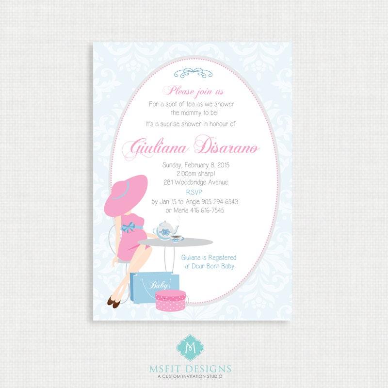 Printable Baby Shower Invitation- Tea Party Baby Shower Invitation ...