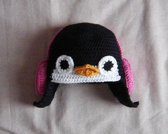 Penguin Hat with Earmuffs/Ear-warmers, 7 Sizes New Born - Adult, INSTANT DOWNLOAD Crochet Pattern