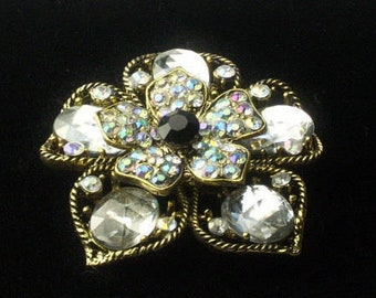 Vintage Aurora Borealis Rhinestone & Faceted Crystal Old Hollywood Glamour 1950s BROOCH Pin Costume Jewelry Gift For Her on Etsy
