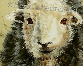 Herdwick Sheep unframed print 'I Love Ewe,' 30 cm x 30 cm plus white border, Valentine's gift