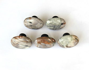 Picasso Jasper Cabinet Knobs - Oval Stone Pulls - Home Decor