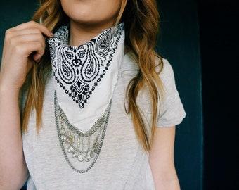 White Bandana with Silver Chain and charms | Coachella Clothing | Chain Bandana | Festival | Bohemian Fashion | 80s 90s