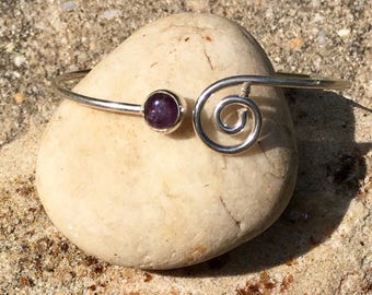 Natural Amethyst Crystal Gemstone Silver Swirl Adjustable Cuff Bracelet