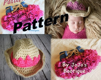 PDF Pattern Package - Cowgirl Hat and Ruffled Skirt with bonus Tiara Patterns, Cowgirl crochet hat, Ruffled Western Skirt Patterns -by JoJos