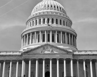 Fine Art, Black and white photography, United States Capitol building, with lone biker, bicyclist, Washington D.C.