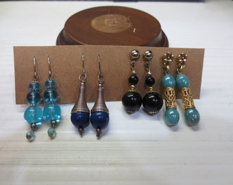 Four Great Pairs of Dangle Earrings 3 Blue Beads 1 Black Beads